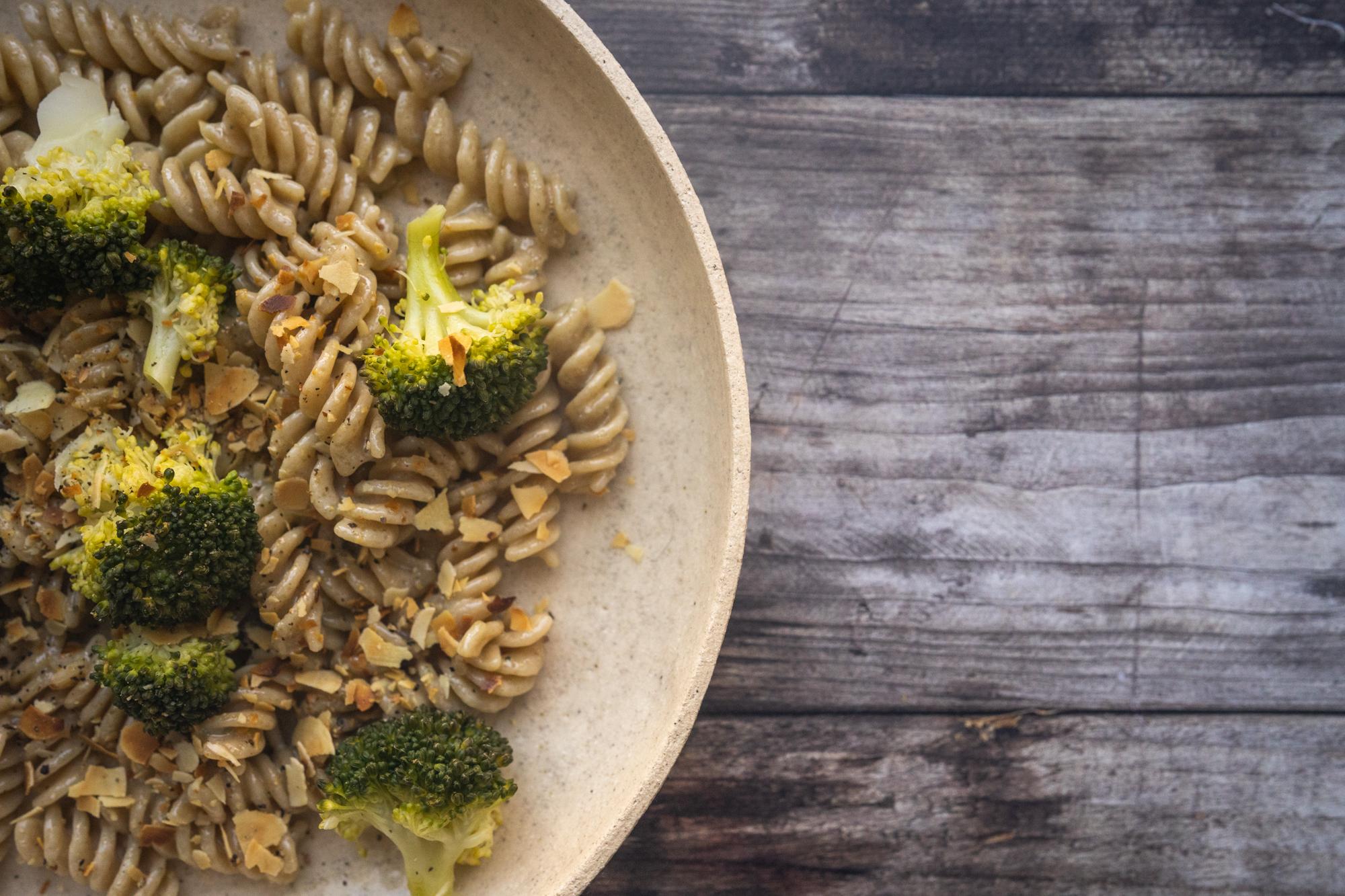 Fusilli brocolis, gorgonzola et amandes