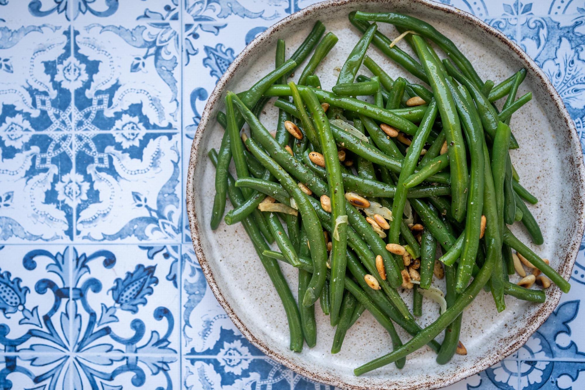 Salade tiède de haricots verts